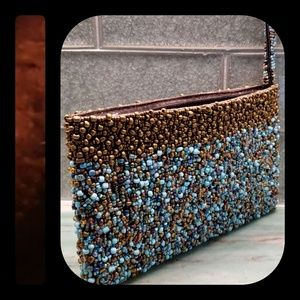 Vintage Turquoise & Brown Beaded Evening Purse